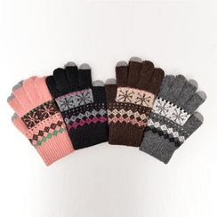 CLICK - Nordic Pattern Knit Gloves
