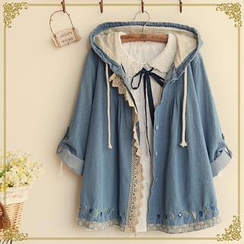 Fairyland - Lace Trim Hooded Chambray Jacket