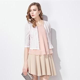 Moonbasa - Sequined-Trim Pleated Cropped Cardigan