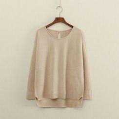 Mushi - Plain Dip Back Knit Top