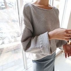 Hello sweety - Boat-Neck Drop-Shoulder Sweater