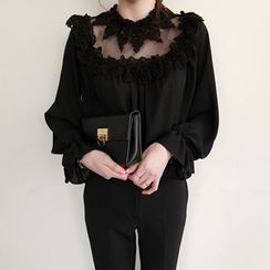 NIPONJJUYA - Sheer-Yoke Lace-Trim Chiffon Top
