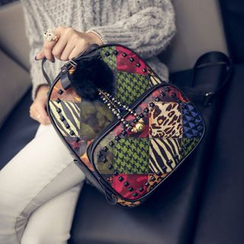 Bag Affair - Printed Faux Leather Backpack