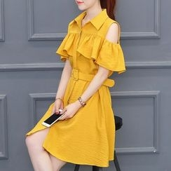 Ekim - 皺摺露肩短袖襯衫裙