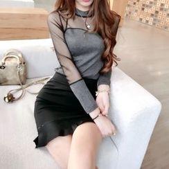 Silkfold - 套裝: 長袖薄紗拼接上衣 + 鉛筆裙