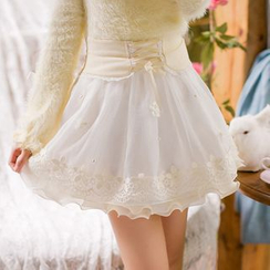 Candy Rain - Lace Trim Pleated Skirt