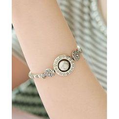Miss21 Korea - Faux-Gem Engraved Metal Bracelet