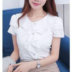 Eferu - 荷葉短袖雪紡襯衫