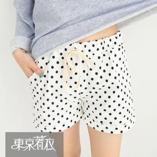 Tokyo Fashion - Drawstring-Waist Cuffed Dotted Shorts
