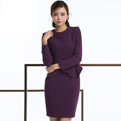Eleganza - 纯色长袖荷叶腰连衣裙