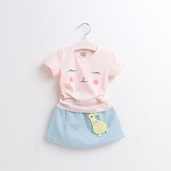 Cuckoo - Kids Set: Printed Short-Sleeve T-Shirt + Duck Appliqué Denim Skirt