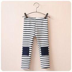 Rakkaus - Kids Fleece-Lined Paneled Striped Leggings