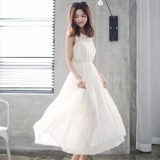 Soneed - Sleeveless Pleated Chiffon Maxi Dress
