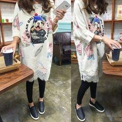 Dream Girl - Lace Hem Dog Print Pullover