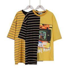 Momewear - Short-Sleeve Color-Block T-Shirt