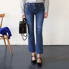 Seoul Fashion - Boot-Cut Washed Jeans