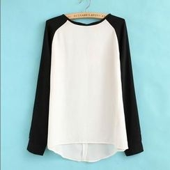 JVL - Color-Block Raglan Chiffon Blouse