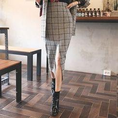 DABAGIRL - Slit-Front Herringbone Long Pencil Skirt