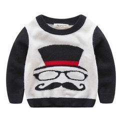 DEARIE - Kids Mustache Print Sweater