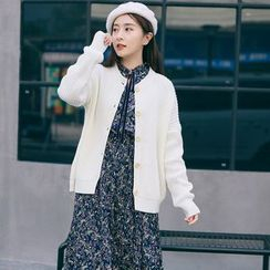 West Coast - Set: Long-Sleeve Floral A-line Dress + Cardigan