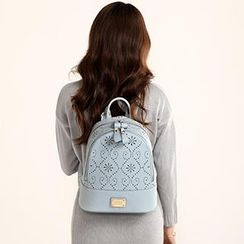 Axixi - Faux-Leather Perforated Backpack