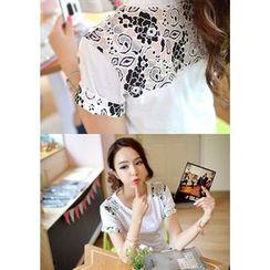 DEEPNY - Floral Print Inset T-Shirt