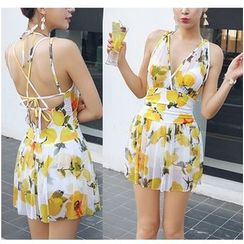 Jumei - Lemon Print Strappy Swimdress
