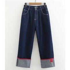 Citree - Applique Wide Leg Straight-Cut Jeans