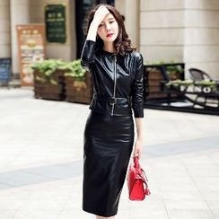 Romantica - 套裝: 仿皮外套 + 短裙