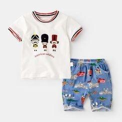 Kido - Kids Set : Print Short-Sleeve T-shirt + Shorts