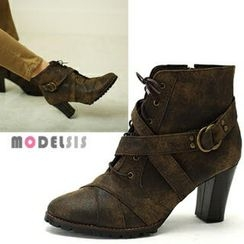 MODELSIS - Lace-Up Cross-Strap Ankle Boots