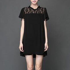 Mythmax - Short-Sleeve Lace-Panel Dress