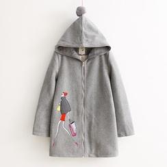 Vateddy - Embroidered Hooded Zip Coat
