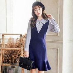 Tokyo Fashion - Sleeveless V-Neck Ruffle-Hem Dress