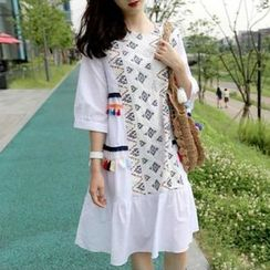 trendedge - Tasseled Embroidered Elbow Sleeve Dress