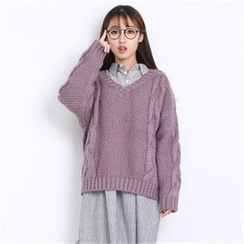 11.STREET - V-neck Cable Knit Sweater