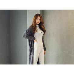 UUZONE - Open-Front Long Cardigan