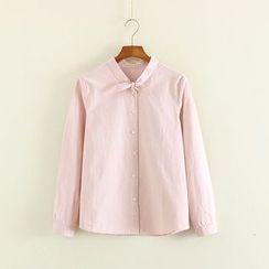 Mushi - Band Collar Long-Sleeve Shirt