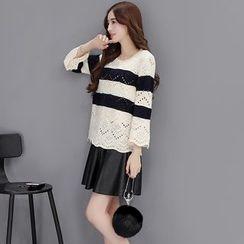 Romantica - Set: Color-Block Knit Top + Skirt