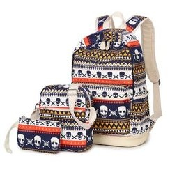 VIVA - Set of 3: Skull Print Backpack + Crossbody Bag + Pouch