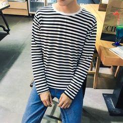 百高 - 條紋長袖T恤