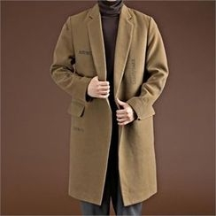 THE COVER - Notched-Lapel Lettering Wool Blend Coat