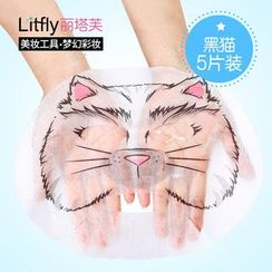 Litfly麗塔芙 - DIY 鎖水面膜紙 黑貓(5片)