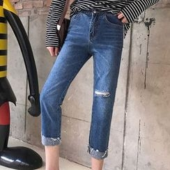 RASA - Ripped Cropped Jeans