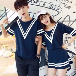 TOOI - Couple Matching Set: Contrast Trim Short Sleeve T-Shirt + Skirt / Shorts