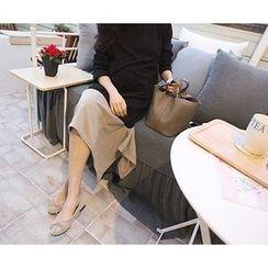 MARSHMALLOW - Handkerchief-Hem Two-Tone Maxi Dress