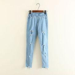 Mushi - Distressed Band Waist Jeans