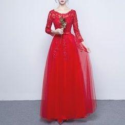 名貴風格 - 綴飾蕾絲拼接網紗晚禮服