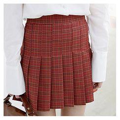 Sechuna - Plaid Accordion-Pleat Mini Skirt