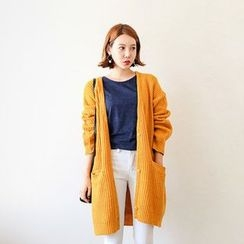 Seoul Fashion - Wool Blend Oversized Long Cardigan